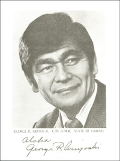 GEORGE R. ARIYOSHI - AUTOGRAPHED SIGNED PHOTOGRAPH  - HFSID 273737