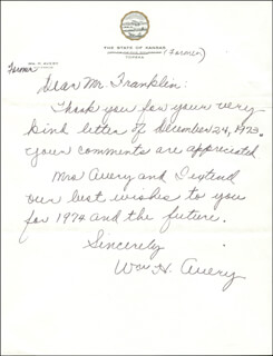 WILLIAM H. AVERY - AUTOGRAPH LETTER SIGNED