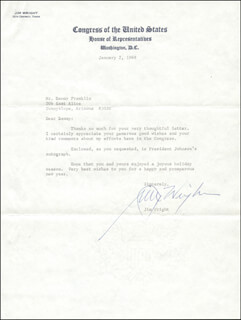 JIM WRIGHT - TYPED LETTER SIGNED 01/02/1969