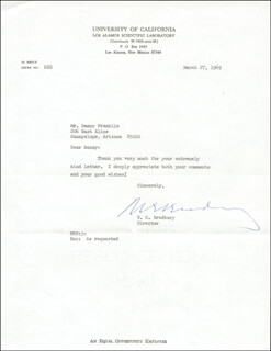 Autographs: NORRIS E. BRADBURY - TYPED LETTER SIGNED 03/27/1969