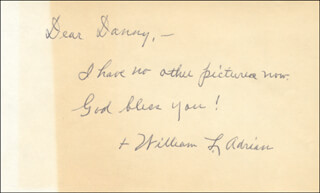 BISHOP WILLIAM L. ADRIAN - AUTOGRAPH NOTE SIGNED