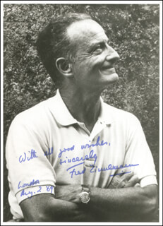 FRED ZINNEMANN - AUTOGRAPHED SIGNED PHOTOGRAPH 08/02/1969