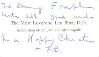 Autographs: LEO ARCHBISHOP BINZ - INSCRIBED BUSINESS CARD SIGNED