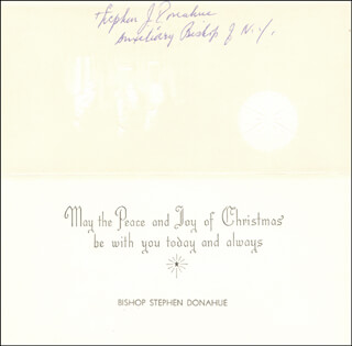 Autographs: BISHOP STEPHEN DONAHUE - CHRISTMAS / HOLIDAY CARD SIGNED