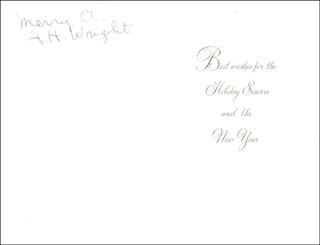 Autographs: ALBERT HAZEN WRIGHT - CHRISTMAS / HOLIDAY CARD SIGNED