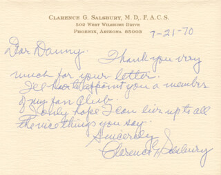 CLARENCE G. SALSBURY - AUTOGRAPH LETTER SIGNED 07/21/1970