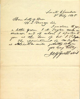 Autographs: PRESIDENT JEFFERSON DAVIS (CONFEDERATE STATES OF AMERICA) - AUTOGRAPH LETTER SIGNED 02/03/1848