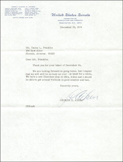 Autographs: GEORGE D. AIKEN - TYPED LETTER SIGNED 12/30/1974