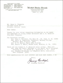 JENNINGS RANDOLPH - TYPED LETTER SIGNED 06/11/1974