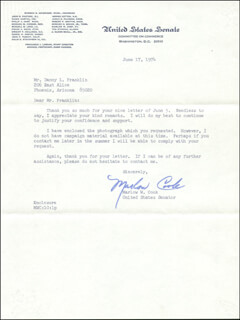 Autographs: MARLOW W. COOK - TYPED LETTER SIGNED 06/17/1974
