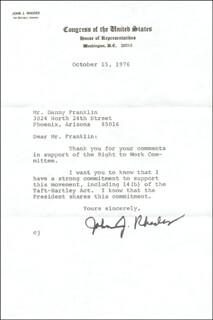 JOHN J. RHODES - TYPED LETTER SIGNED 10/15/1976