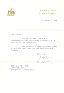 JUDY (MRS. SPIRO) AGNEW - TYPED LETTER SIGNED 11/21/1968