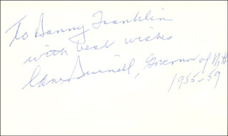 GOVERNOR LANE DWINELL - AUTOGRAPH NOTE SIGNED