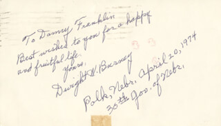 DWIGHT BURNEY - INSCRIBED POST CARD SIGNED 04/20/1974