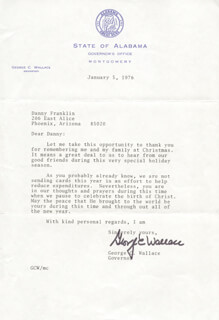 GEORGE C. WALLACE - TYPED LETTER SIGNED 01/05/1976