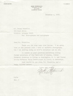 GOVERNOR MIKE STEPOVICH - TYPED LETTER SIGNED 12/04/1973 CO-SIGNED BY: MATILDA STEPOVICH