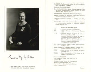 Autographs: PAULINE M. MCGIBBON - BIOGRAPHY SIGNED