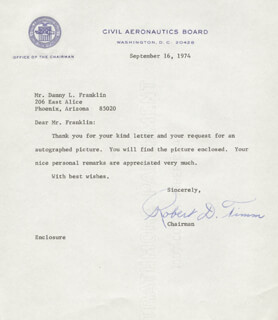 ROBERT D. TIMM - TYPED LETTER SIGNED 09/16/1974