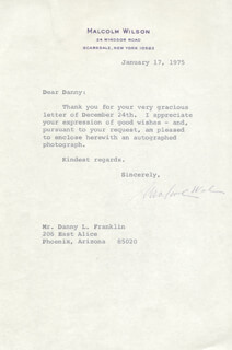 Autographs: MALCOLM WILSON - TYPED LETTER SIGNED 01/17/1975