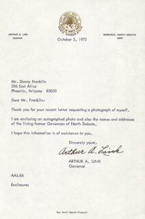 ARTHUR A. LINK - TYPED LETTER SIGNED 10/05/1973