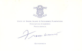 GOVERNOR FRANK LICHT - PRINTED CARD SIGNED IN INK
