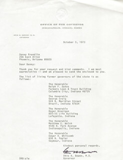 Autographs: OTIS RAY BOWEN - TYPED LETTER SIGNED 10/03/1973