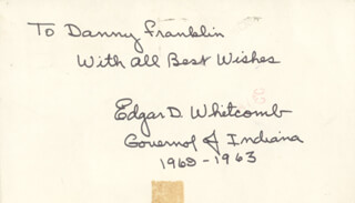 GOVERNOR EDGAR D. WHITCOMB - INSCRIBED SIGNATURE