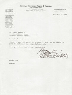 GOVERNOR MATTHEW E. WELSH - TYPED LETTER SIGNED 11/05/1973