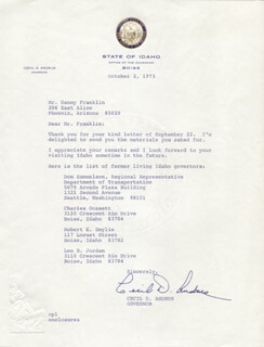 Autographs: GOVERNOR CECIL D. ANDRUS - TYPED LETTER SIGNED 10/02/1973