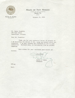 DAVID F. CARGO - TYPED LETTER SIGNED 10/29/1968