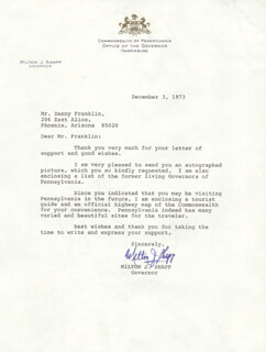 GOVERNOR MILTON J. SHAPP - TYPED LETTER SIGNED 12/03/1973