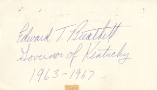 EDWARD T. BREATHITT - POST CARD SIGNED CIRCA 1974