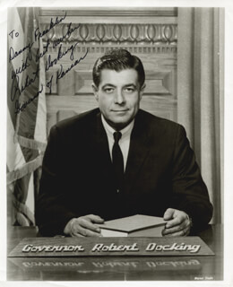 GOVERNOR ROBERT DOCKING - AUTOGRAPHED INSCRIBED PHOTOGRAPH