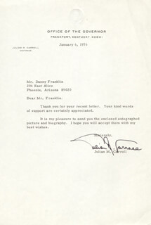 GOVERNOR JULIAN M. CARROLL - TYPED LETTER SIGNED 01/06/1976