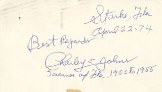 CHARLES E. CHARLEY JOHNS - POST CARD SIGNED