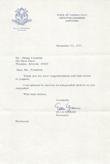 ELLA GRASSO - TYPED LETTER SIGNED 12/23/1975
