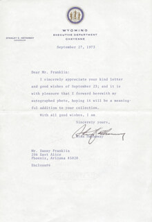 Autographs: STANLEY K. HATHAWAY - TYPED LETTER SIGNED 09/27/1973