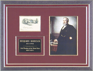 PRESIDENT BENJAMIN HARRISON - WHITE HOUSE ENGRAVING SIGNED 05/25/1892