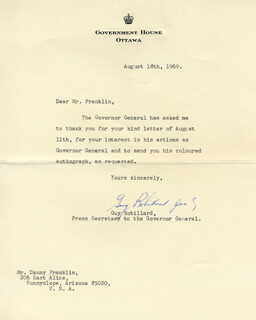 GUY ROBILLARD - TYPED LETTER SIGNED 08/18/1969 CO-SIGNED BY: ROLAND MICHENER