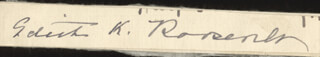 Autographs: FIRST LADY EDITH K. ROOSEVELT - SIGNATURE(S)