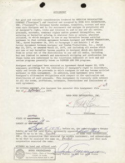REDD FOXX - DOCUMENT SIGNED 09/04/1976