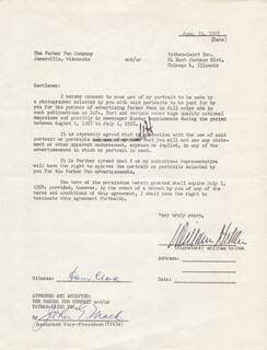 WILLIAM HOLDEN - DOCUMENT SIGNED 06/19/1957