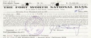 JAMES JIMMY STEWART - PROMISSORY NOTE SIGNED 06/21/1972