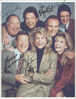 MURPHY BROWN TV CAST - AUTOGRAPHED SIGNED PHOTOGRAPH CO-SIGNED BY: PAT CORLEY, FAITH FORD, CHARLES KIMBROUGH, JOE REGALBUTO, GRANT SHAUD, CANDICE BERGEN - HFSID 274037