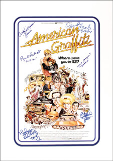 Autographs: AMERICAN GRAFFITI MOVIE CAST - LOBBY CARD SIGNED CO-SIGNED BY: PAUL LE MAT, BO HOPKINS, CANDY CLARK, MACKENZIE PHILLIPS, CINDY WILLIAMS, LYNNE STEWART