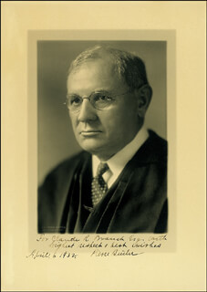 Autographs: ASSOCIATE JUSTICE PIERCE BUTLER - INSCRIBED PHOTOGRAPH SIGNED 04/06/1932