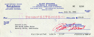 BLAKE EDWARDS - AUTOGRAPHED SIGNED CHECK 07/18/1966