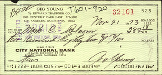 GIG YOUNG - AUTOGRAPHED SIGNED CHECK 11/21/1973