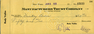 RUDY VALLEE - AUTOGRAPHED SIGNED CHECK 06/06/1935 CO-SIGNED BY: MICKEY BLOOM