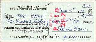 JOHN McGIVER - AUTOGRAPHED SIGNED CHECK 06/05/1970